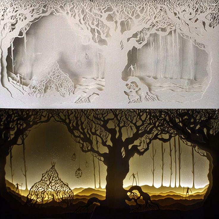 Harikrishan Panicker and Deepti Nair, who both hail from India, go by the duo artist name of Hari & Deepti. Together they create small and large diorama artworks made of intricately cut layered paper lit by LED lights. tree of life unlit and lit IIHIH