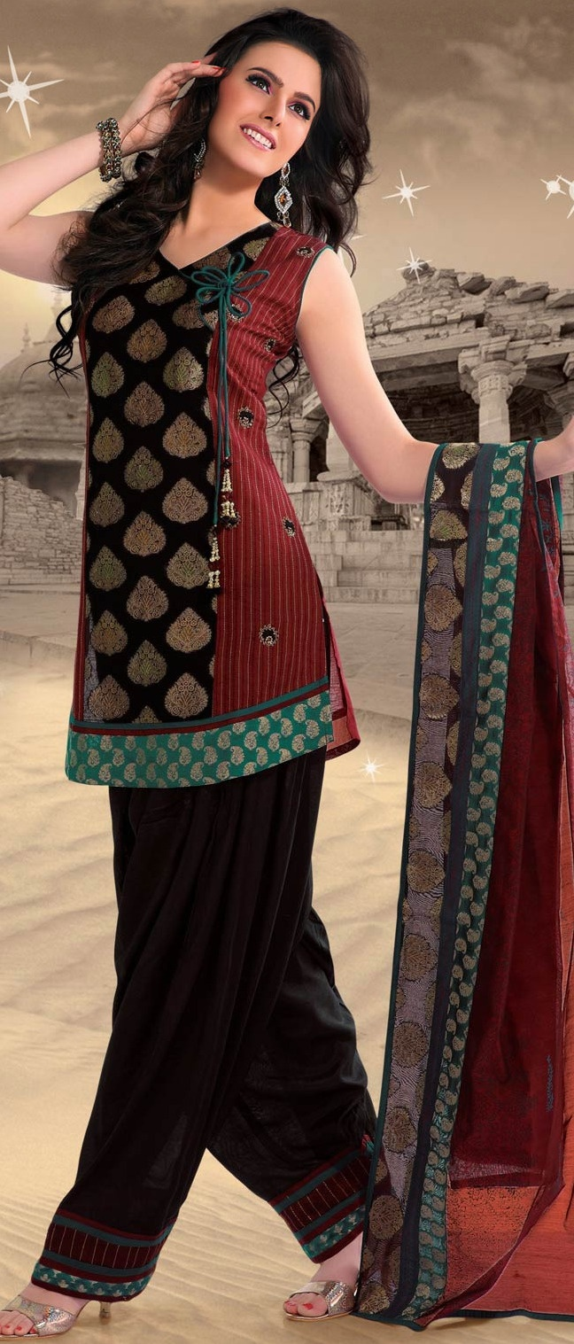 #Maroon and #Black #Cotton Readymade #Salwar Suit @ $70.02