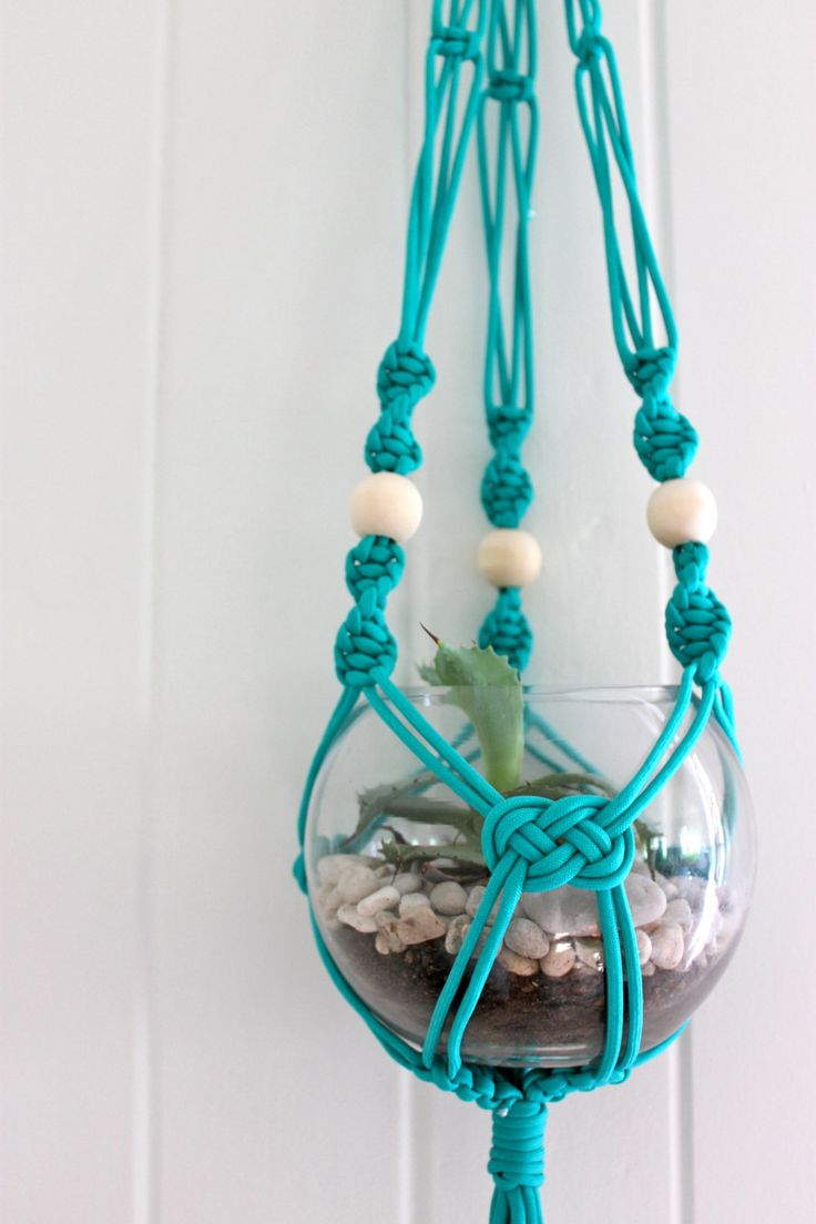 Turquoise Medium Macramé Plant Hanger - Natural timber Wooden Beads by SomeWereMeantForSea on Etsy