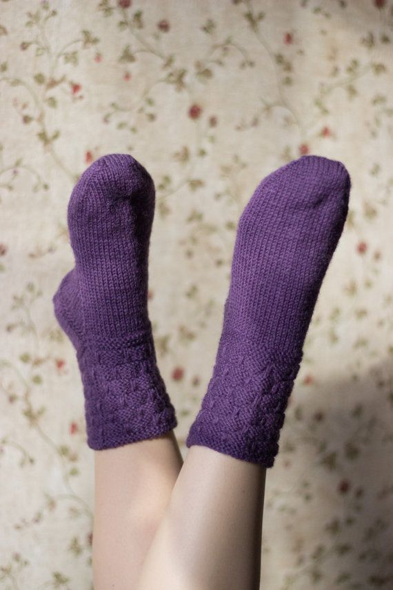 Purple wool socks for womenWinter knit socks Merino by MarooSocks