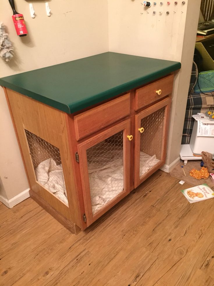 Repurposed An Old Kitchen Island Into A Dog Cage With Dog