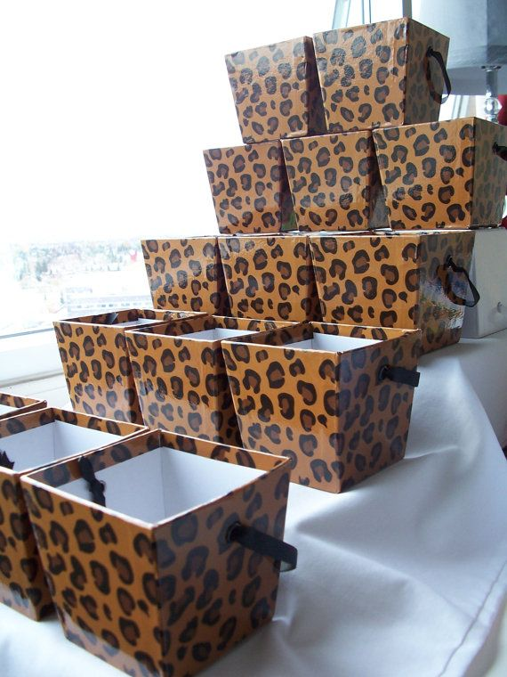 16 Luxury wild animal print gift favour boxes - craft supplies by SparkleandComfort on Etsy, $32.00