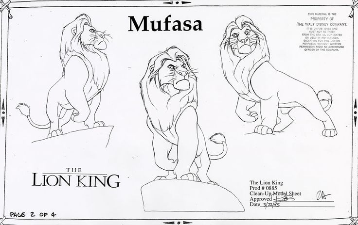 Walt Disney Animation Studios - The Lion King (1994) Clean-Up Model Sheets - Mufasa © Disney