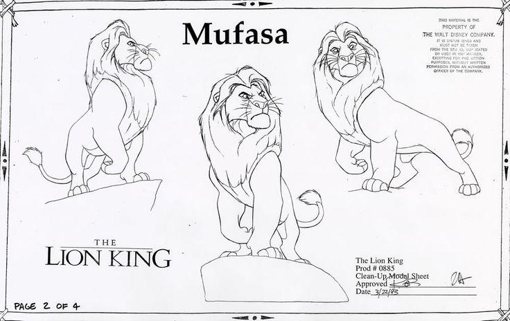 Walt Disney Animation Studios - The Lion King (1994) Clean-Up Model Sheets - Mufasa © Disney