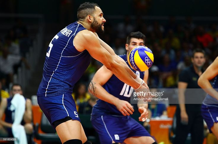 Osmany Juantorena #5 of Italy in action against Iran during the Men's Quarterfinal Volleyball match on Day 12 of the Rio 2016 Olympic Games at Maracanazinho on August 17, 2016 in Rio de Janeiro, Brazil.