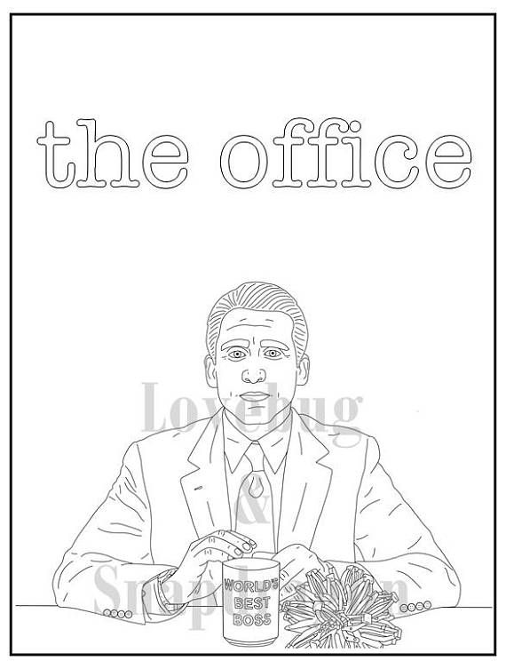 The Office Digital Coloring Book Instant Print Pdf Travel Activity Rainy Day Activity Secret Santa Gift Art Therapy Coloring Pages Coloring Books Coloring Pages Art Therapy Activities