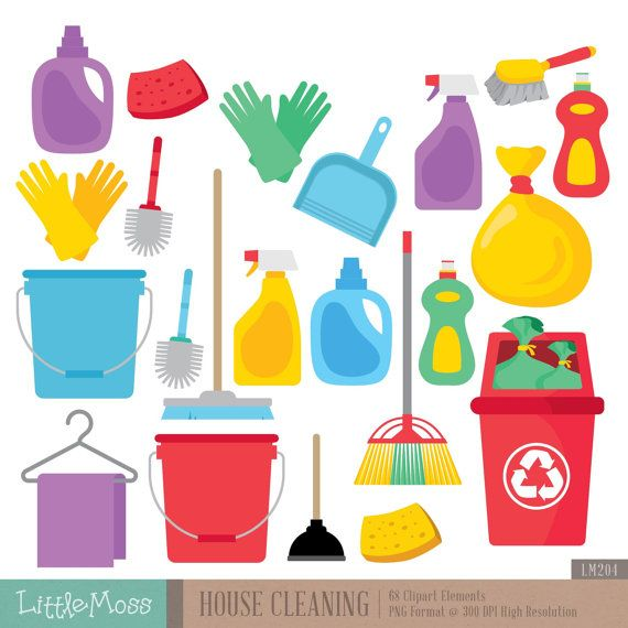 House Cleaning Digital Clipart by LittleMoss on Etsy
