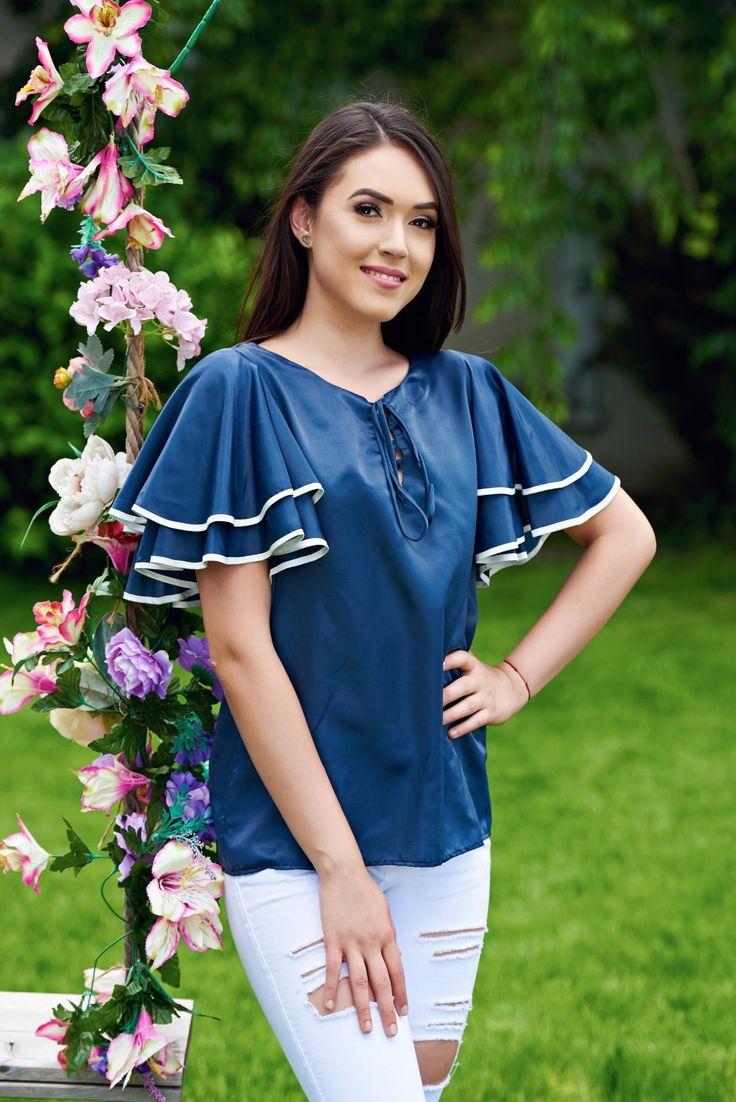 Comanda online, Bluza dama cu maneci tip fluture PrettyGirl albastru-inchis. Articole masurate, calitate garantata!