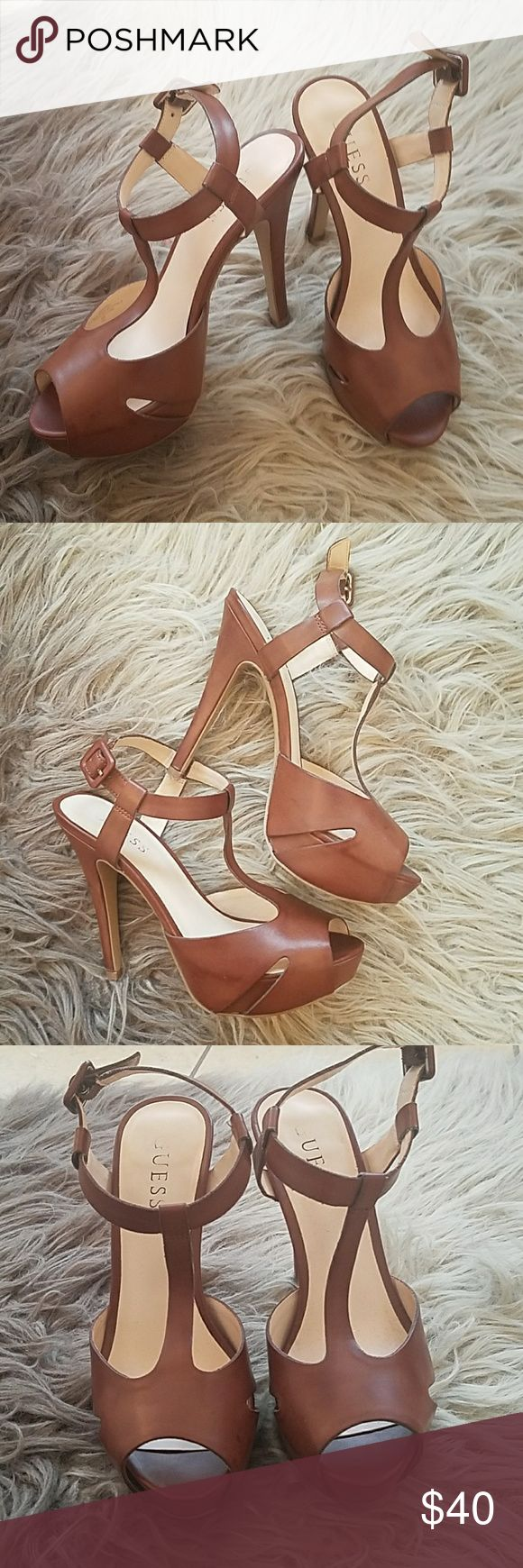 GUESS TAN HEELS Only wore one time.  Authentic and in excellent condition. Guess Shoes Heels