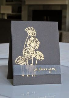 Don't know if this is gray or dark blue, or silver or gold embossing. Any combo would be nice. Love the vellum strip.