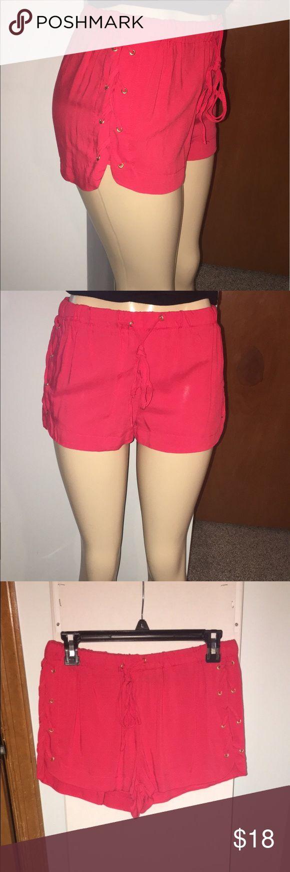 Dressy Jogger Shorts Red-Orange dress type jogger shorts w/drawstring New Look Shorts Bermudas