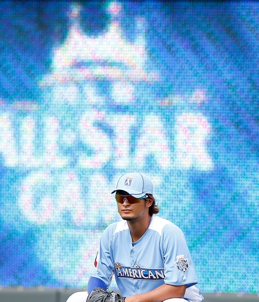 KANSAS CITY, MO - JULY 10: American League All-Star Yu Darvish #11 of the Texas Rangers stands in the outfield during batting practice before the 83rd MLB All-Star Game at Kauffman Stadium on July 10, 2012 in Kansas City, Missouri. (Photo by Jamie Squire/Getty Images): Texas Rangers, Rangers Stands, American League, All Star Yu, Rangers Baseball, 83Rd Mlb