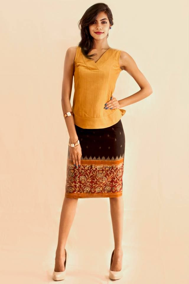 My favourite fabrics come together in this pencil skirt- Kalamkari and ikat!