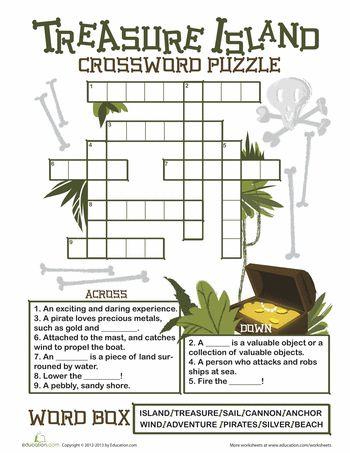 Worksheets: Treasure Island Crossword Puzzle