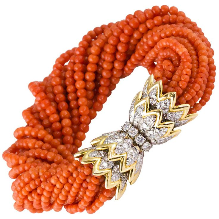 pinned by Cluny Grey Jewelry -  TIFFANY & CO. SCHLUMBERGER Diamond Coral Torsade Bracelet