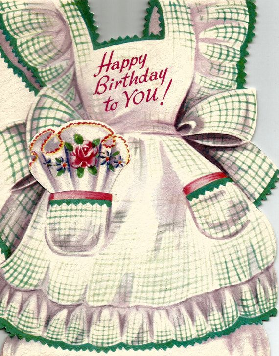 Vintage apron with pockets happy birthday greeting card digital download printable instant image