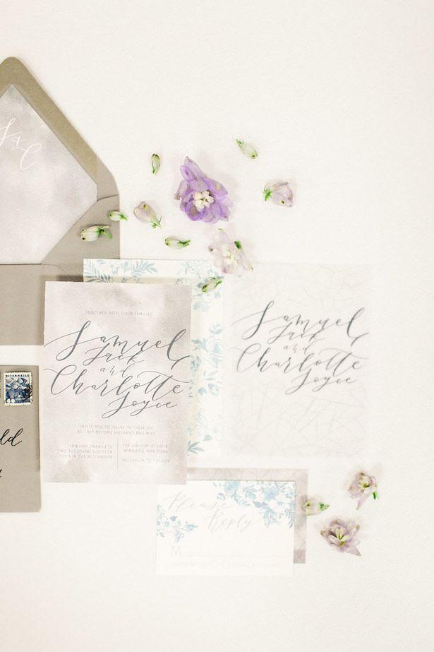 Icy pastel wedding invitations
