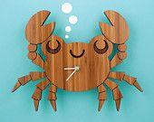Bamboo Crab Clock: Wooden Kids Wall Clock Ocean Nursery