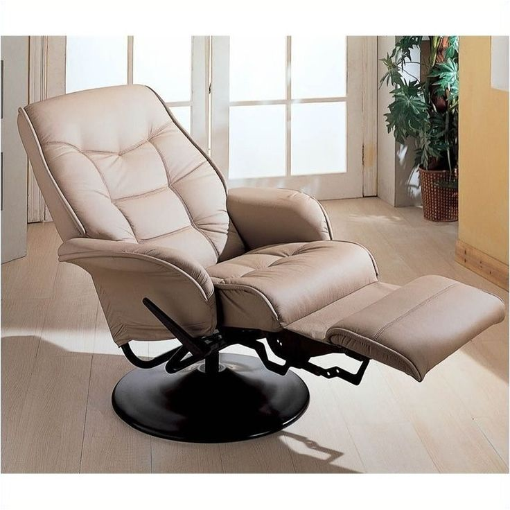 bowery hill faux leather swivel recliner chair in bone finish - bh-153350