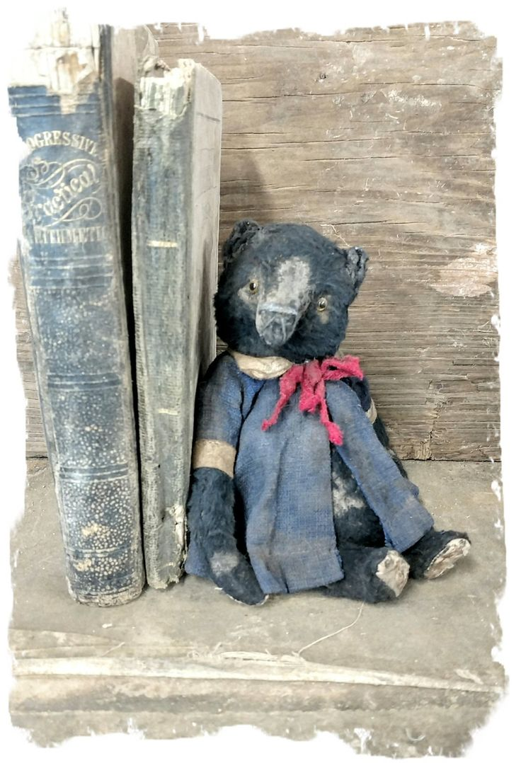 "Madeline: Little 6"" Old Worn Black Teddy Bear in vintage dolly coat dress by Whendi's Bears / Whendi's Bears"