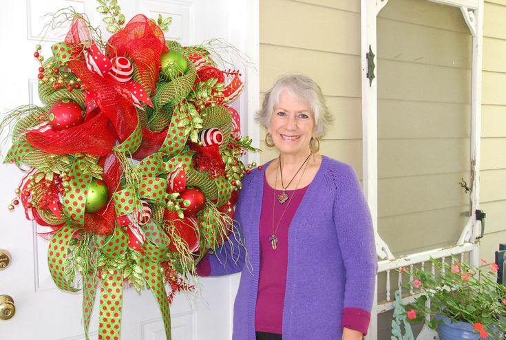 Nancy after filming a ninety minute video on how to make a Deco Mesh Christmas Door Wreath!