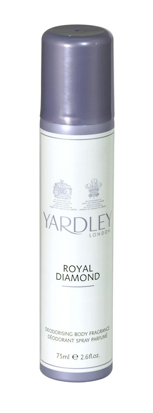 Yardley deodorising body fragrance 75ml royal diamond