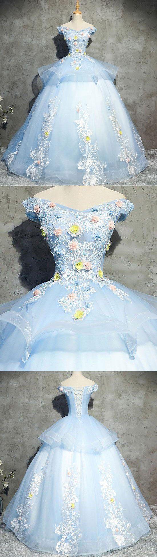Blue tulle lace applique long prom gown, blue evening dress, blue sweet 16 dress