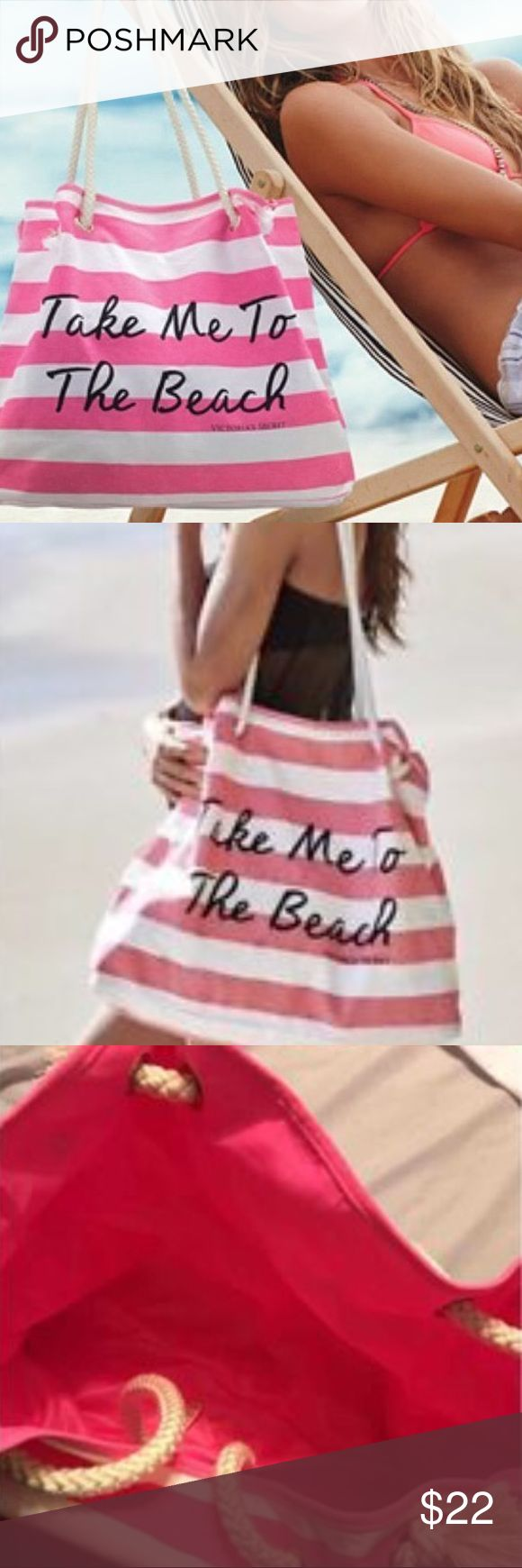 """VS Large Beach Tote Bag. """"Take me to the beach."""" New in unopened packaging. Large Victoria's Secret beach tote bag. Pink and off white stripped pattern. """"Take me to the beach"""" quote in black with cute rope handle. Very spacious tote. Perfect for a weekend getaway, beach day, storage, or groceries. Victoria's Secret Bags Totes"""