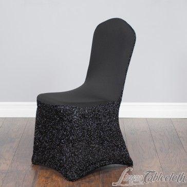 Glitter Stretch Chair Cover Black