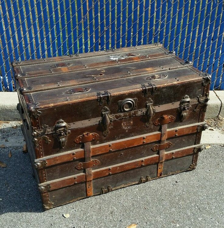 Vintage Antique Flat Top Steamer Trunk Chest Wooden Slat Steampunk Coffee Table #Victorian