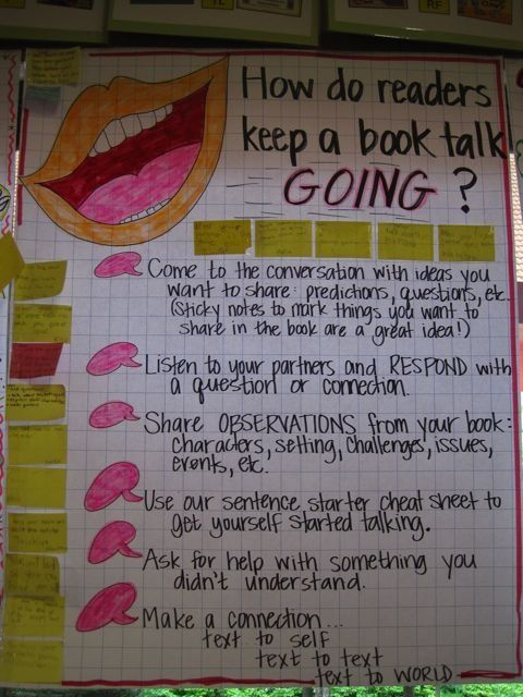 Instead of just having a book talk I think this is a great idea to get students to keep going with a book talk through the use of a helpful poster.