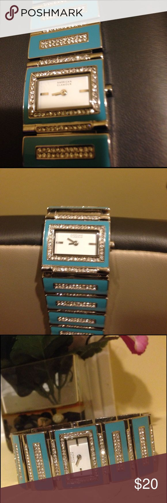 American Glamour watch by Badgley Mischka Gorgeous turquoise and stainless steel watch with white topaz accents on the linked band. New battery. Secure locking system and removable links if needed. Priced to sell as we are moving. I have another in salmon if interested Badgley Mischka Jewelry