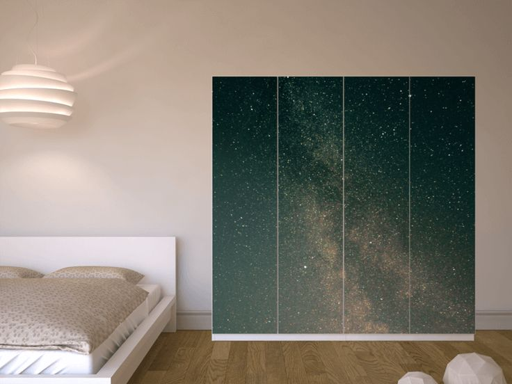 """Na, wenn das mal nicht zum Träumen einlädt! Mit unserer Möbelfolie """"Stars"""" für deinen IKEA PAX Schrank bist du den Sternen ganz nah ❤"""