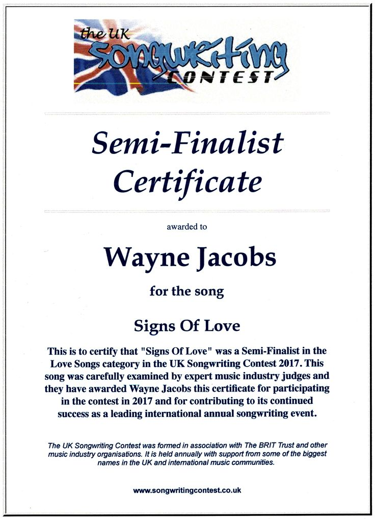 """Uk Songwriting Contest """"Signs Of Love"""" a Semi Finalist."""