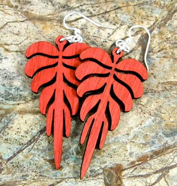 Leaf Geometric  laser cut earrings  by GreenTreeJewelry