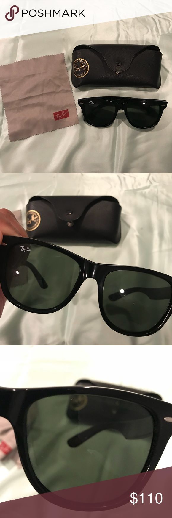 Ray Ban Wayfarer Ray Ban wayfarer sunglasses rb2140 black frame/polarized green almost brand new NO scratches comes with original case Ray-Ban Accessories Sunglasses