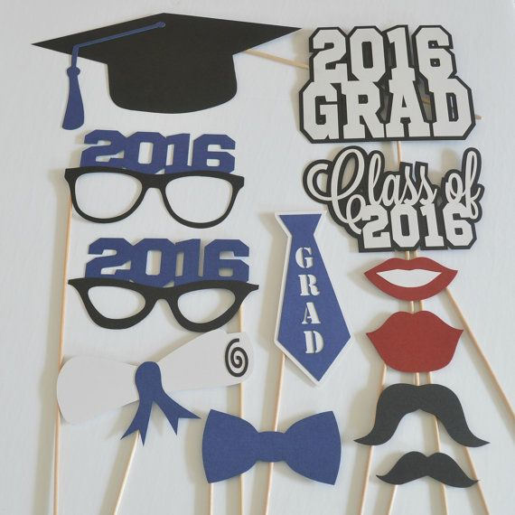 Graduation Photo Booth Props Set of 12 by DecorateYourBigDay