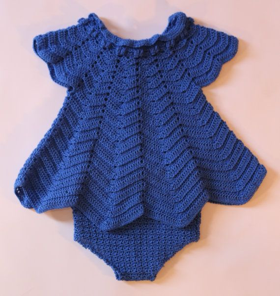 Bebé azul real vestido vestido del bebé del ganchillo con