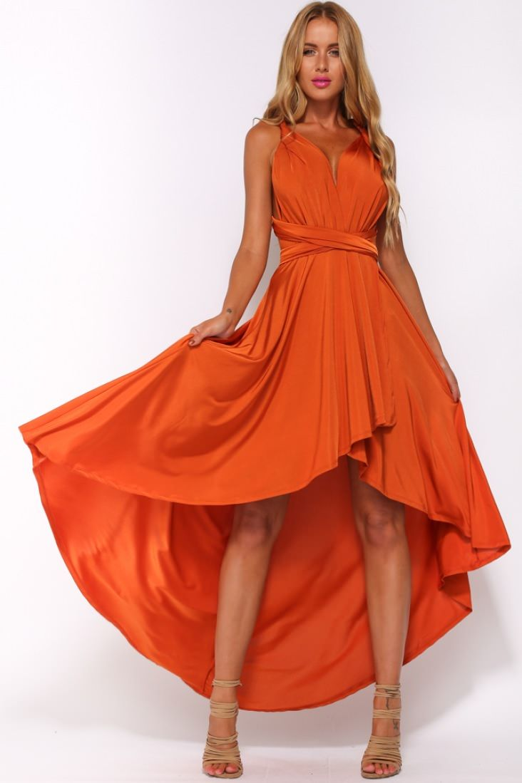 Burnt Orange Ribbed Ruched Bodycon Dress ... |Burnt Orange Gowns
