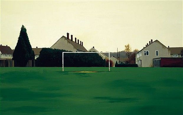 "George Shaw, The Goal Mouth, 1999.  ""Reworked from photographs, these are pictures of unforgettable forgettable places, where the newly built housing estate of his youth merges unsteadily with the surrounding woods."""