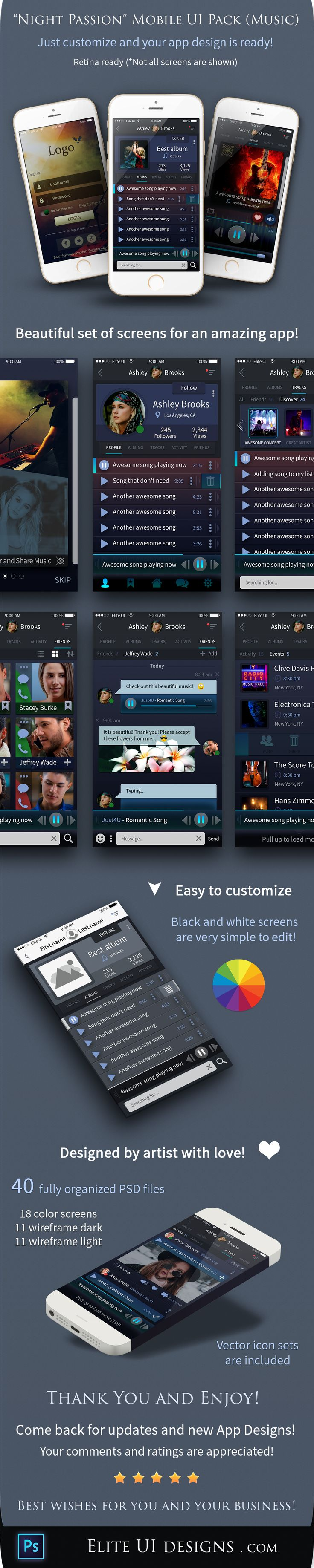 Awesome UI design kit for a music app!