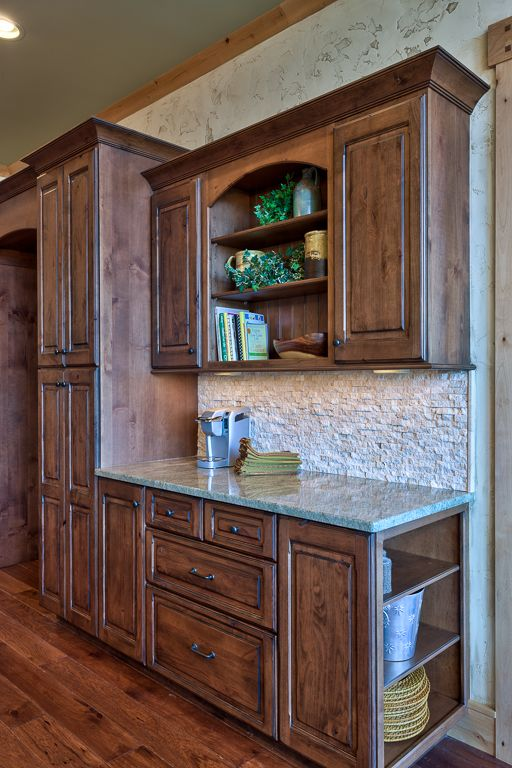 Knotty Alder Stained Cabinetry With Black Glaze Kitchen