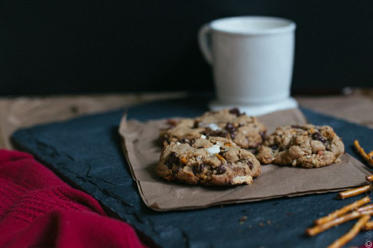 Chocolate Campfire Cookies with Marshmallows and Pretzels