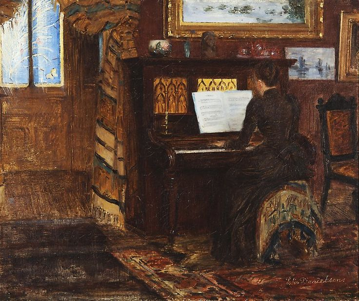 Elin Kleopatra Danielson-Gambogi (Finnish painter, 1861-1919) - Hilma Westerholm Playing the Piano