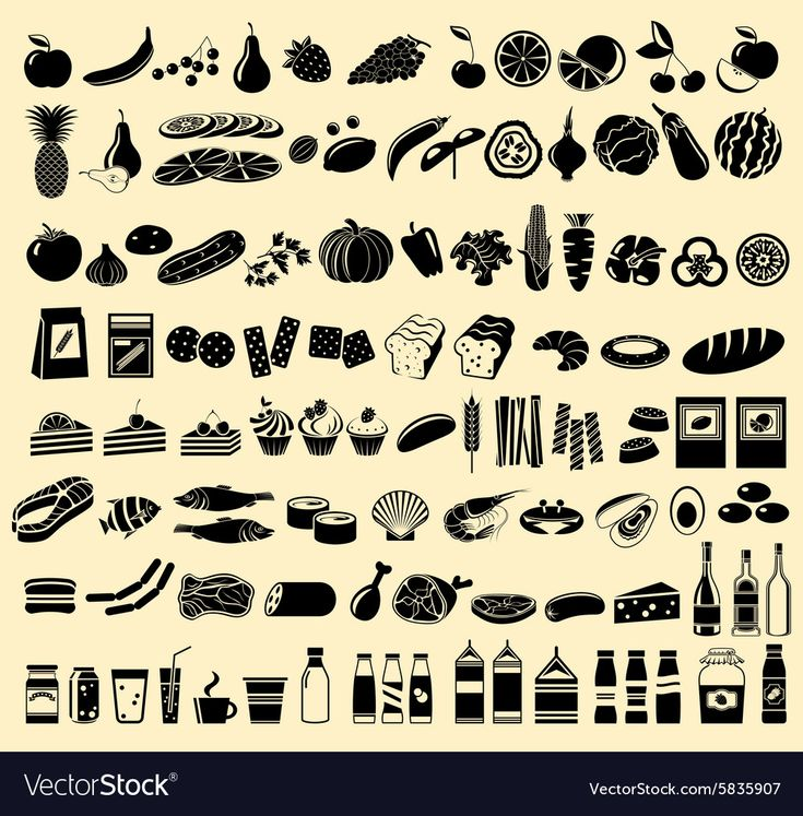 Black vector icons of products. Isolated. Vector