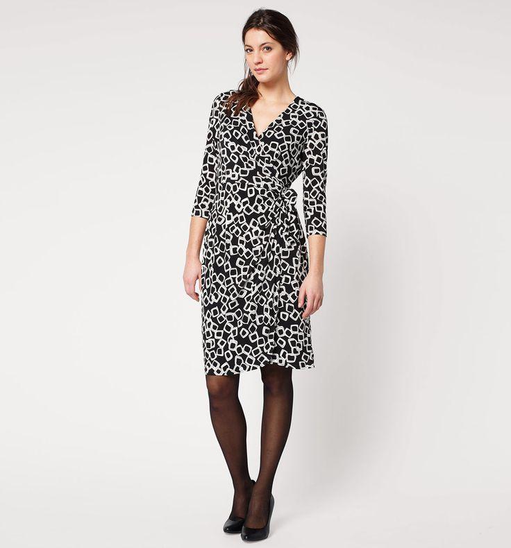 Gedrapeerde jurk in zwart / wit