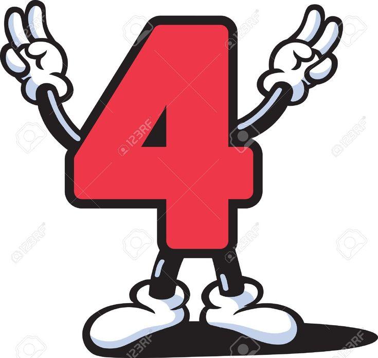 Número Cuatro. 4. Color Rojo.