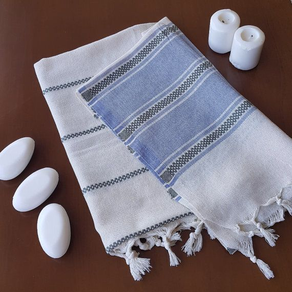 Check out this item in my Etsy shop https://www.etsy.com/listing/460393090/blue-striped-towel-decorative-bath