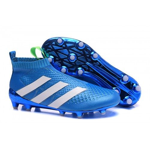 Buy New Blue White Adidas ACE 16 Purecontrol FG AG Football Boots Sale Soccer…