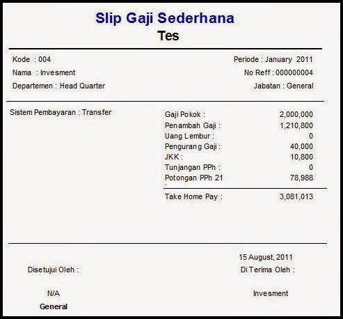 Contoh Slip Gaji Bulanan Karyawan Swasta Nama Periode